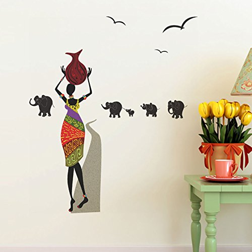 Decals Design 'Lady with Pitcher and Elephants' Wall Sticker (PVC Vinyl, 70 cm x 50 cm)