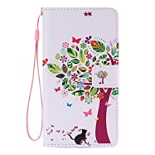 SZYT Phone Case for Samsung Galaxy Note 4, 5.7 inch, PU Leather Flip Cover with Handle, Colorful Leaves Tree Black Cat