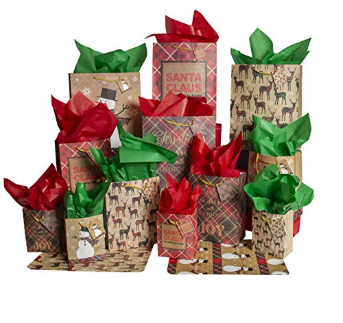 Besti Christmas Gift Bags w/Holiday Tissue Paper and Flat Wrap (28-Piece Set) Small, Medium, and Large Sizes | Reusable Present Giving | Santa Claus, Reindeer, Snowman