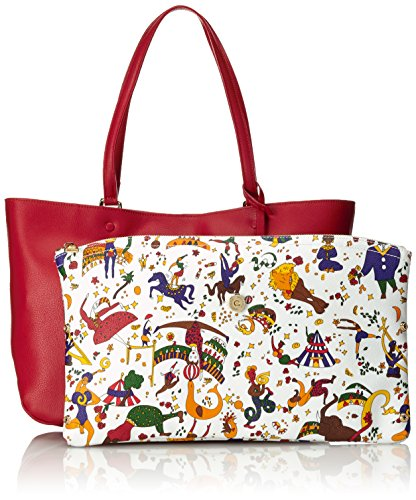 Piero Guidi Magic Circus Classic Leather Borsa Tote, 35 cm, Rosso