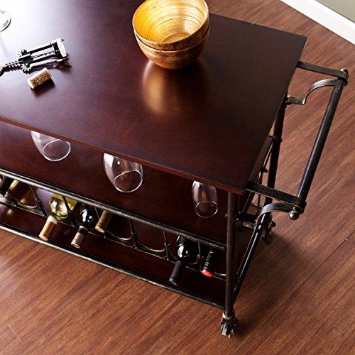 Dontos Industrial Kitchen Cart Southern Enterprises: Kitchen Island Cart Wine Glass Serving Bar Black Brushed