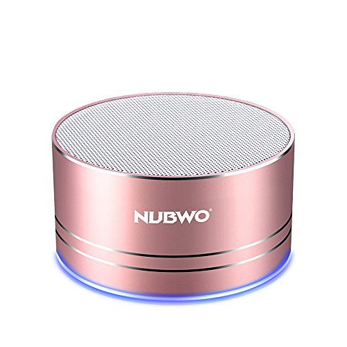 NUBWO Portable Bluetooth Speaker with Mic/Speakerphone,AUX Line,Memory Card Playback Smartphones for Apple/Android Phone (Rose Gold)