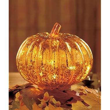 Antiqued Glass Lighted Pumpkin
