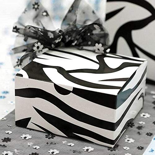 (BalsaCircle 100 4 x 4 x 2 Zebra Black and White Wedding Favor Cake Boxes for Wedding Party Birthday Candy Gifts Decorations)