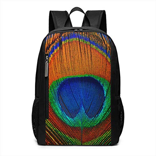 Peacock Feather Repellent School Travel Backpack Casual Daypack For - Notepad Feathers Peacock