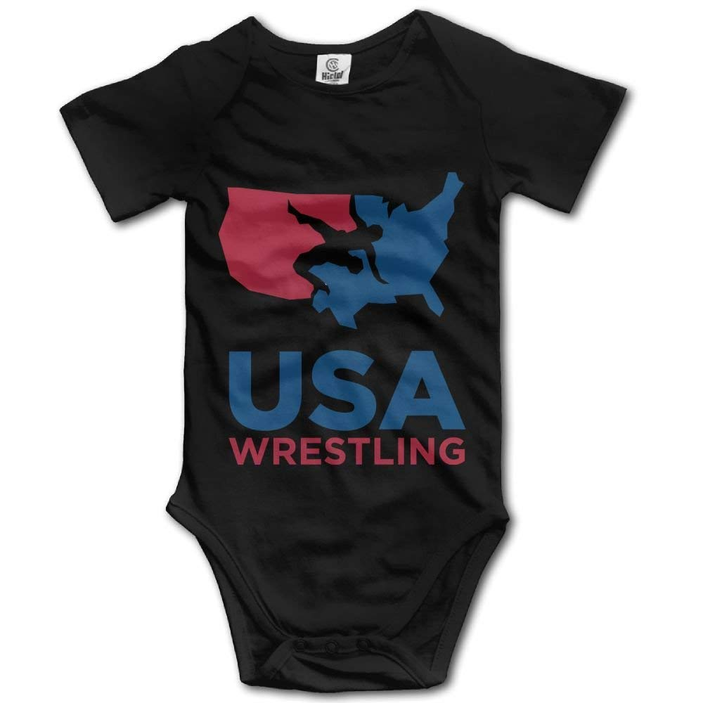 Cute Funny USA Wrestling Baby Bodysuits Short Sleeve Jumpsuit Romper Onesies Outfits for Toddler Boys Girls Black 6 Months