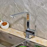 FZHLR Deck Mounted Kitchen Sink Faucet Single Handle Mixer Tap Swivel Spout Tap Chrome Finished 360 Degree Swivel