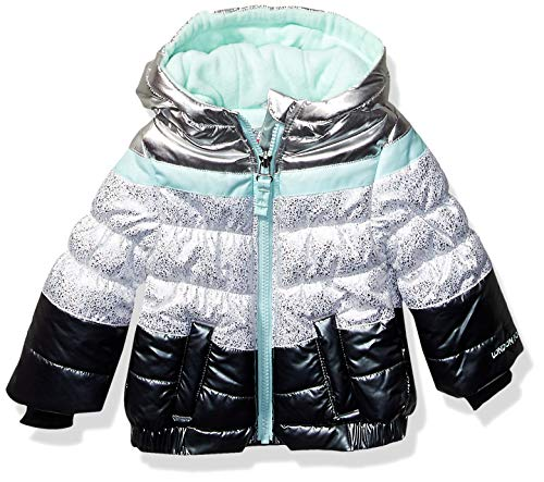 London Fog Baby Girls Puffer Jacket with Scarf & Hat, Aqua Solid, 12Mo