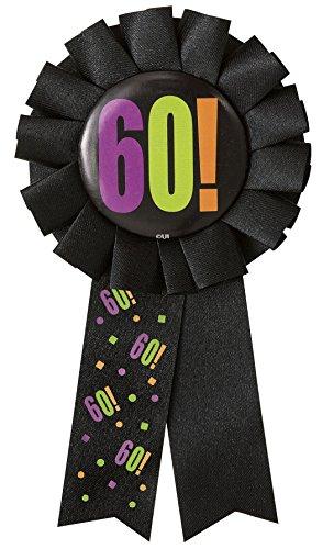 Pinback Button Ribbon - Birthday Cheer 60th Birthday Award Ribbon