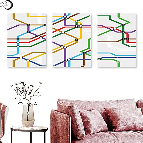 (J Chief Sky Map Home Decor Stripes in Vibrant Colors Metro Scheme Subway Stations Abstract Railroad Transportation Wall Painting Multicolor Triptych Art Canvas W 24