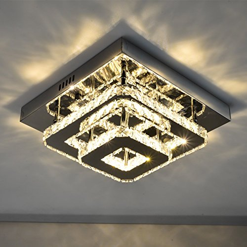 MEEROSEE Mini Modern Crystal Chandelier Lighting Square Flush Mount Ceiling Lamp for Bedroom, Bathroom, Dining Room 16w 11.8″x11.8″x4.7″ (Warm White)