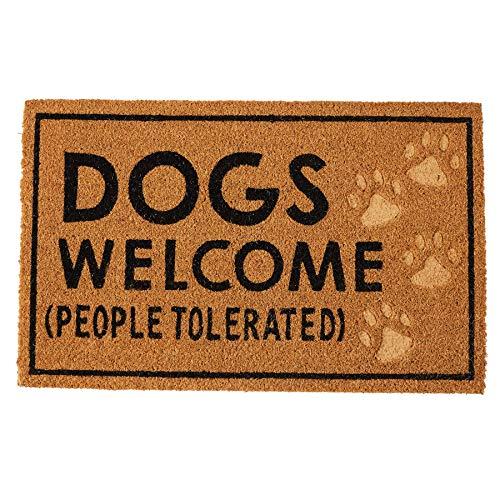 Mud Pie Dogs Welcome Door Mat Coir Doormat, (Best Doormat For Dogs)