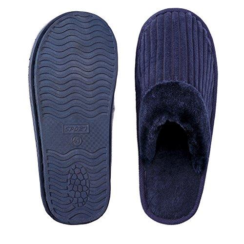 TRUEHAN Men House Indoor Slippers Winter Plush Soft Warm Lightweight Velvet Home Shoes (Tag Size 44 / UK9 10 D(M) US, Blue) by TRUEHAN (Image #6)