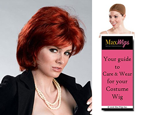 Sharon Rocker Wife Color Auburn - Enigma Wigs Women's Osbourne Ozzy Sassy Talk Bundle with Wig Cap, MaxWigs Costume Wig Care Guide -