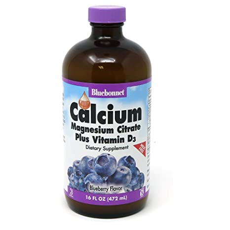 BlueBonnet Liquid Calcium Magnesium Citrate, Blueberry, 16 Fluid ...