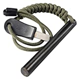 bayite 4 Inch Survival Ferrocerium Drilled Flint Fire Starter Ferro Rod Kit with Paracord Landyard Handle and Striker