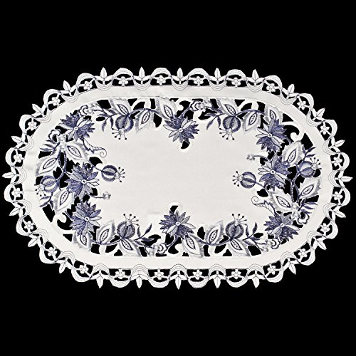 gs Embroidered Delft Blue Onion Flower Place Mat Dresser Scarf Doily 12