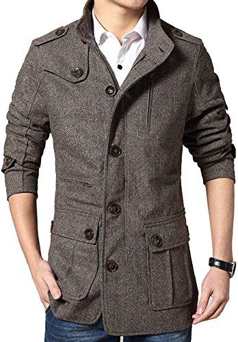 Herringbone Belted Jacket (S&S Men's Brown Herringbone Tweed Blazers Lrregular Chest Lapel Wool Pea Coat)