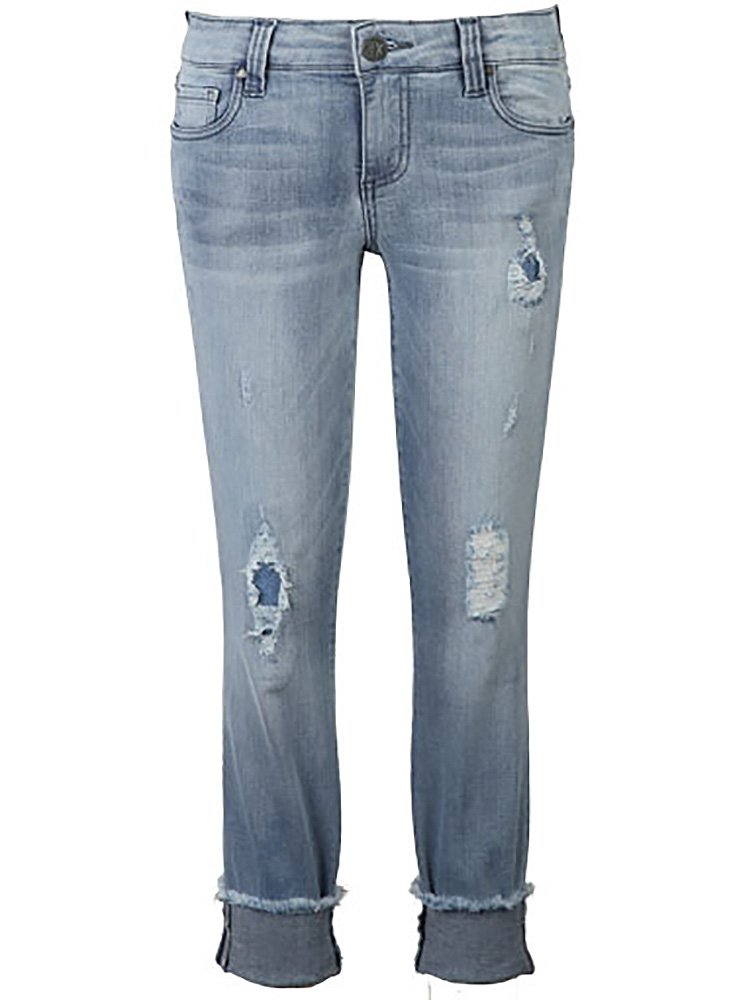 KUT from the Kloth Women's Connie Crop Skinny Jeans w/Fray Hem in Esthetic/New Vintage Base Wash Esthetic/New Vintage Base Wash 10 27.5 by KUT from the Kloth (Image #1)
