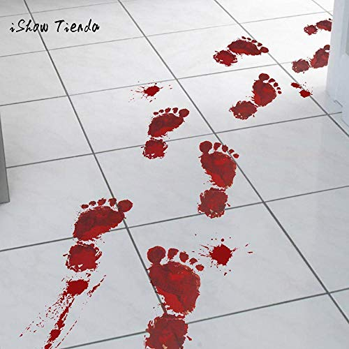 Home Decoration - 4pcs Bloody Footprints Floor Clings Halloween Vampire Zombie Party Decor Stickers Festive Party Event Supplies 23x35cm]()