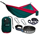 Chill Gorilla Pro Luxury Double Hammock With Tree Straps Blue 4.7 Sq Ft Bigger Than Eno. Lightweight Weather Resistant Diamond Rip Stop Nylon Perfect for Camping Travel Hiking Supports 661 lbs.