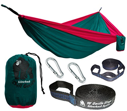 Chill Gorilla Pro Luxury Double Camping Hammock With Tree Straps. Green. 4.7 SF Bigger Than Eno. Lightweight Weather Resistant Diamond RipStop Nylon. Ideal for Travel Hiking. Supports 661 lbs
