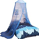 Uarter Boho Princess Mosquito Net Bed Canopy Girls Mosquito Net Bed Conical Curtains Kids Play Tent with Stars for Kids, Blue