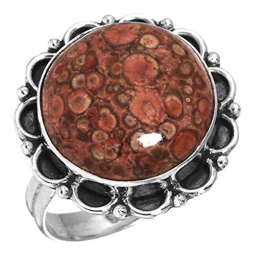 Solid 925 Sterling Silver Designer Jewelry Natural Red Poppy Jasper Gemstone Ring Size 8