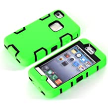 iPhone 4 Case,iPhone 4s cases, NVHANZ Hybrid 3 Layer Hard Case Cover with Silicone Shell Case for iPhone 4 /4S (Green/Black)