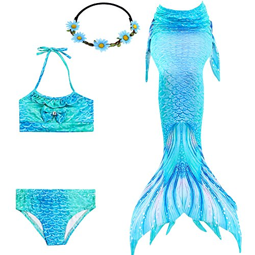 GALLDEALS Girls Mermaid Tails for Swimming Swimsuit Princess Swimmable  Bikini Set for 3-13 Year 7d4274e21f8