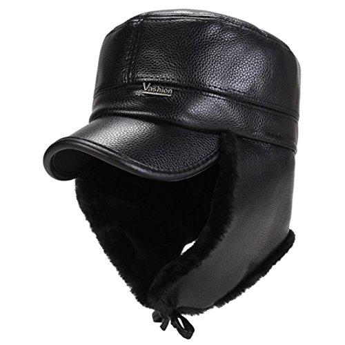 de Grey béisbol invierno Middle de además ZHAS PU Tapa de Gorra gruesa Hombres algodón de hombres Aged de gorra una cuero RvS1Zv7W
