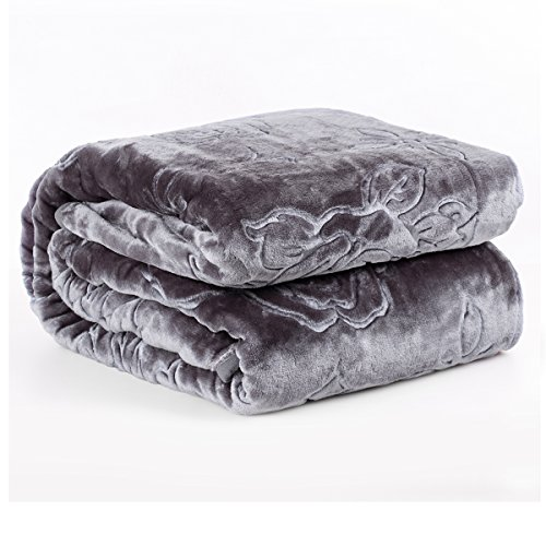 "JML Plush Soft Raschel Blanket - Queen Size 76"" x 91"", Cloud Blanket, Lightweight, Embossed Solid Color (Dark Grey) Cozy Fleece Couch/Bed Blanket"