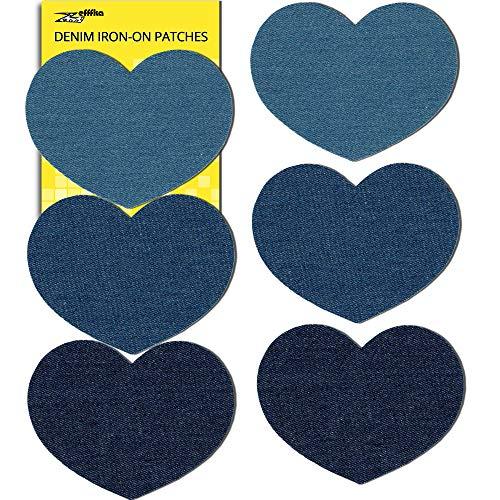 ZEFFFKA Premium Quality Denim Iron On Jean Patches Decorative Heart No-Sew Shades of Blue 6 Pieces Cotton Jeans Repair Kit 5