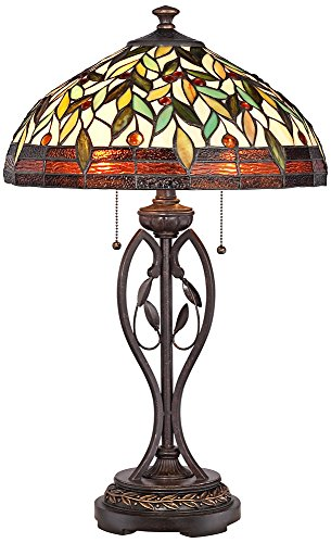 Blossoming Leaf and Vine Bronze Tiffany Table (Bronze Leaf Accents Table Lamp)