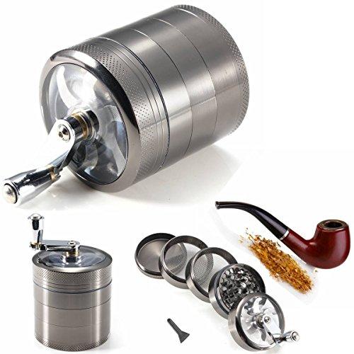 CAMTOA 2.2 inch 5-teilig Grinder Tobacco Herb Mühle Crusher, Metall Takakmühle Gewürzmühle Kräutermühle für Tabak Pollen Herb Spice mit Mühle Griff Schwarz