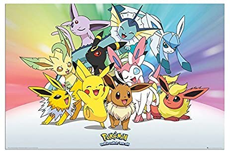 Pokemon Eevee Evolutions Poster Gloss Laminated   91.5 X 61cms (36 X 24  Inches)