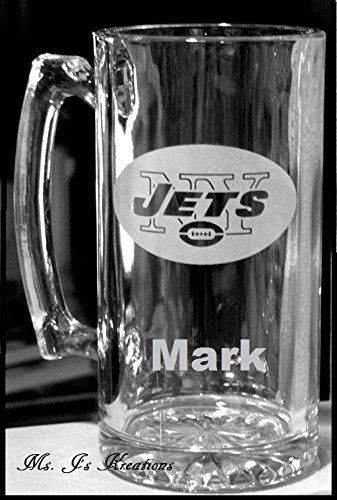 NFL AFC East Team XL 24oz Etched Mug ...PERSONALIZED BILLS~PATRIOTS~JETS Logo w/Your Name, Title or Phrase.....Makes a GREAT Gift