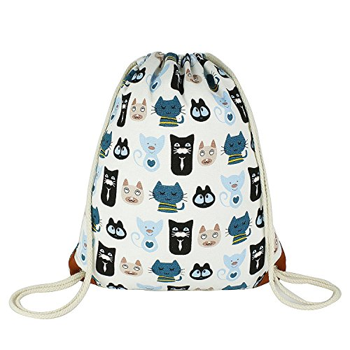 ArmoFit Cute Drawstring Backpack with Pocket Canvas Leather Reinforced Corners Gym Sackpack for Women & Men (Childfree)