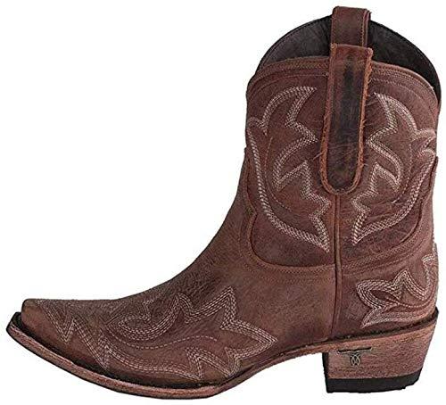 XLBHSH Botas Cowboy Mujer con Tacon Botas Western Cuero