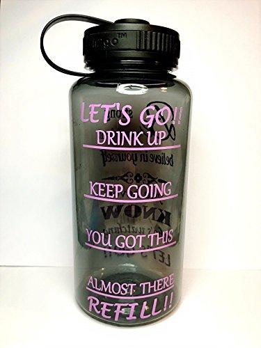 Inspirational Water Bottle- Wide Mouth Tritan 34oz Water Bottle- Smoke/Lilac Bottle