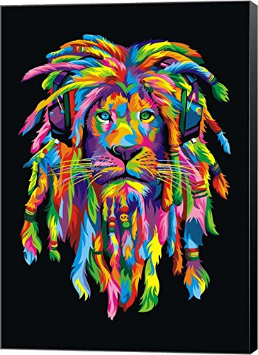 Lion Rasta by Bob Weer Canvas Art Wall Picture,