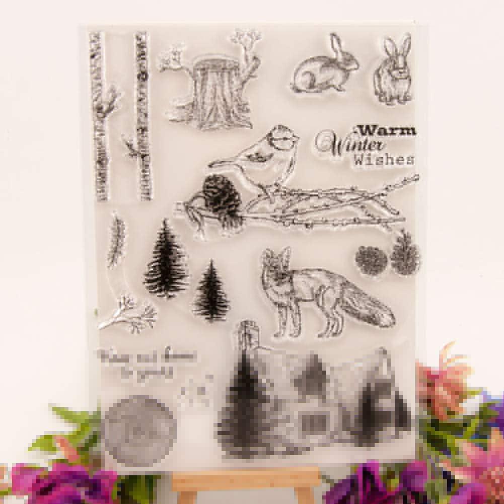 Ponnen No/ël Transparent Silicone Sceau Timbre Souche darbre Animal Arc Tampon Scrapbooking Album Photo D/écorer Stamp Only