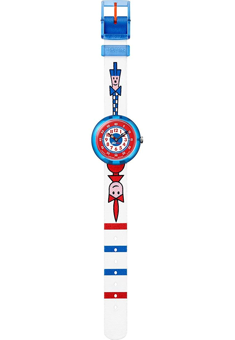 Amazon.com: Flik Flak Ticking Right Blue Red White Fabric Strap Kids Watch FBNP079: Watches