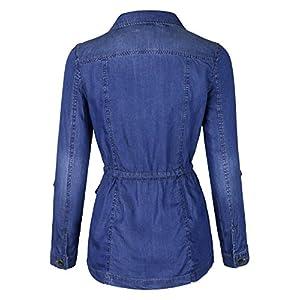 makeitmint Women's Soft Tencel Zip Up Utility Denim Jean Jacket w/Pockets YJZ0066-DARK-SML