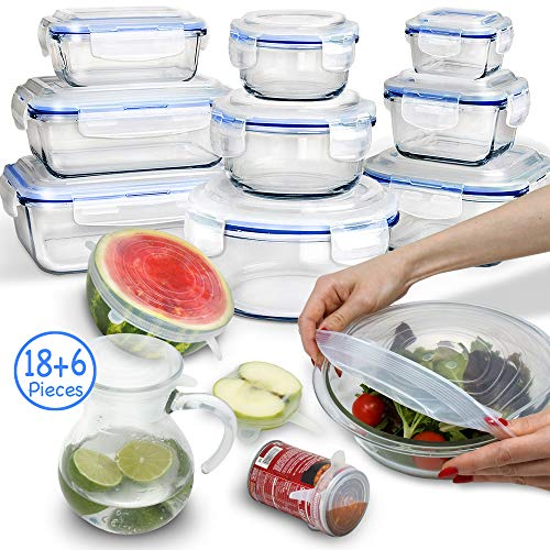 24 Piece Glass Food Storage Containers with Lids + Microwave Covers, BPA-Free & FDA Approved, 100% Leak-proof and Airtight, Meal Prep, Oven/Dishwasher/Microwave/Freezer ()