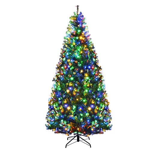 Goplus 7FT Pre-Lit Artificial Christmas Tree Auto-Spread/Close up Branches 11 Flash Modes with Multicolored LED Lights & Metal Stand