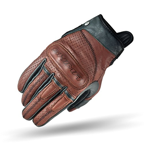 - SHIMA Caliber Mens Vintage Leather Motorcycle Gloves - Brown / XL