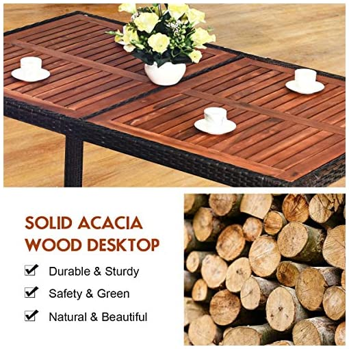 Garden and Outdoor Tangkula 7 PCS Outdoor Patio Dining Set, Garden Dining Set w/Acacia Wood Table Top, Stackable Chairs with Soft Cushion… patio dining sets