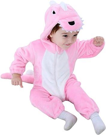 Pigiama Tutina Pagliaccetto di Flanella con Cappuccio,Regalo di Compleanno di Natale del Costume di Halloween LOLANTA Costume da Dinosauro Bambino