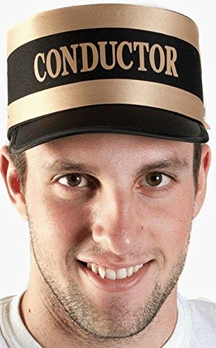 New Black Engineer Train Conductor Hat Cap Gold Trim Railroad Adult]()